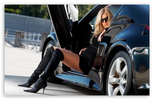 sexy girl and car hd desktop wallpaper fullscreen