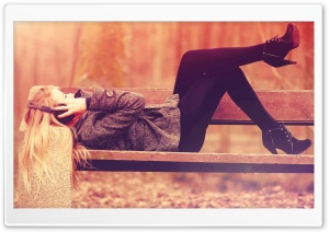 Sexy Girl On Park Bench HD Wide Wallpaper for Widescreen