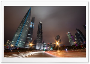 Shanghai Night Traffic HD Wide Wallpaper for Widescreen