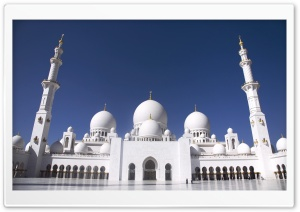Sheikh Zayed Grand Mosque, Abu Dhabi, United Arab Emirates HD Wide Wallpaper for Widescreen