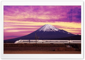 Shinkansen Bullet Train and Mount Fuji Japan HD Wide Wallpaper for 4K UHD Widescreen desktop & smartphone