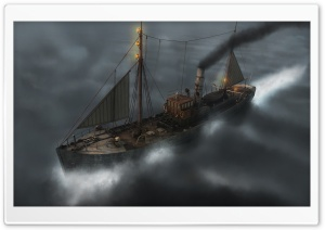 Ship On The Ocean Fantasy HD Wide Wallpaper for Widescreen