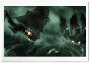 Ships On Storm HD Wide Wallpaper for Widescreen