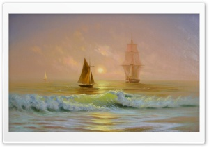 Ships On The Ocean Painting HD Wide Wallpaper for Widescreen