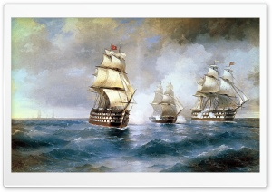 Ships Painting HD Wide Wallpaper for Widescreen