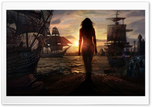 Ships Waiting To Sail Out HD Wide Wallpaper for Widescreen
