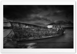 Shipwreck Black and White Ultra HD Wallpaper for 4K UHD Widescreen desktop, tablet & smartphone