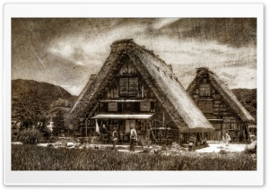 Shirakawago Farmhouse Woodblock HD Wide Wallpaper for Widescreen