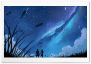 Shooting Stars in the Sky Art HD Wide Wallpaper for 4K UHD Widescreen desktop & smartphone