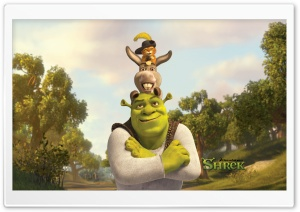 Shrek, Puss And Donkey HD Wide Wallpaper for Widescreen