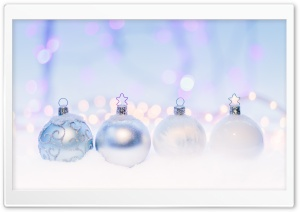 Silver Christmas Balls HD Wide Wallpaper for Widescreen