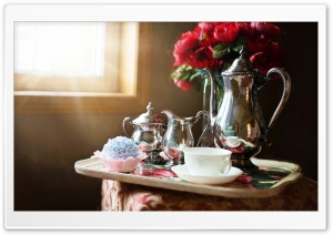 Silver Tea Set HD Wide Wallpaper for Widescreen