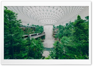 Singapore Airport Biodome Rain Vortex Indoor Waterfall HD Wide Wallpaper for 4K UHD Widescreen desktop & smartphone