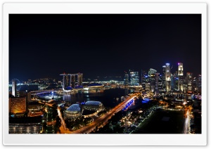 Singapore Night Panorama HD Wide Wallpaper for Widescreen