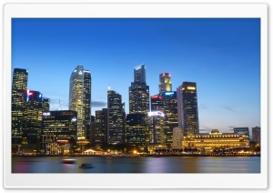 Singapore River Night Scene HD Wide Wallpaper for Widescreen
