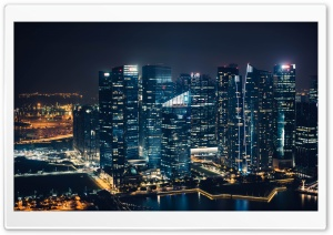 Singapore Skyscrapers Marina Bay Night HD Wide Wallpaper for 4K UHD Widescreen desktop & smartphone