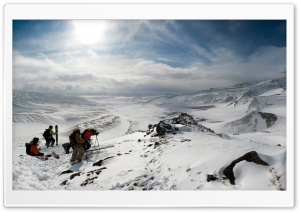 Skiers On Top Of The Mountain HD Wide Wallpaper for Widescreen