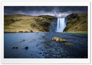 Skogafoss Waterfall, Iceland HD Wide Wallpaper for Widescreen