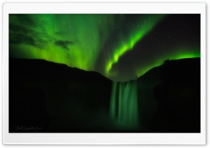Skogafoss Waterfall, Iceland, Night Aurora Borealis Ultra HD Wallpaper for 4K UHD Widescreen desktop, tablet & smartphone