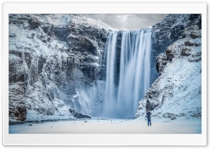 Skogafoss Waterfall, Iceland, Winter Ultra HD Wallpaper for 4K UHD Widescreen desktop, tablet & smartphone