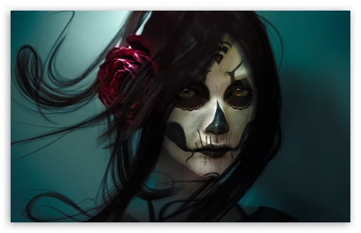 Download Skull Girl UltraHD Wallpaper