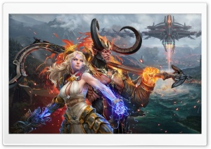 Skyforge game, Demon and Divine HD Wide Wallpaper for 4K UHD Widescreen desktop & smartphone