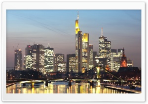 Skyline of Frankfurt am Main, Germany HD Wide Wallpaper for 4K UHD Widescreen desktop & smartphone