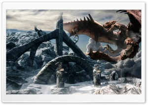 Skyrim Dragon HD Wide Wallpaper for Widescreen
