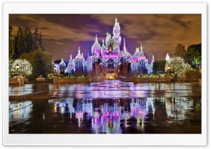 Sleeping Beauty Castle Christmas at Disneyland HD Wide Wallpaper for 4K UHD Widescreen desktop & smartphone