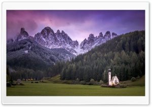 Small Church, Mountain Landscape, Italy HD Wide Wallpaper for 4K UHD Widescreen desktop & smartphone