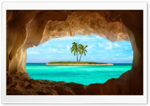 Small Island With Palm Tree HD Wide Wallpaper for Widescreen