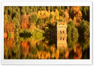 Small Lake Fortress, Autumn HD Wide Wallpaper for 4K UHD Widescreen desktop & smartphone
