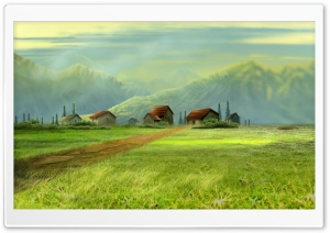 Small Village Drawing HD Wide Wallpaper for Widescreen