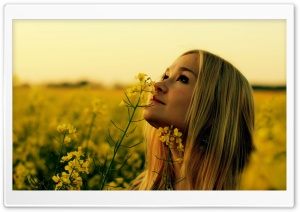 Smelling Flowers HD Wide Wallpaper for Widescreen