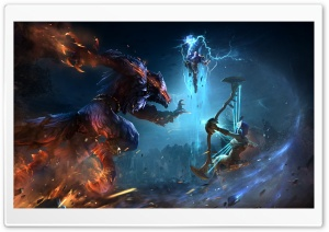Smite, Fenrir vs Neith HD Wide Wallpaper for Widescreen