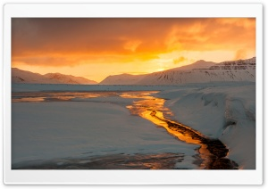 Snaefellsnes peninsula landscape, Orange Sunrise, Winter, Iceland HD Wide Wallpaper for Widescreen