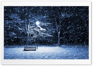 Snow Bench Lamppost HD Wide Wallpaper for Widescreen