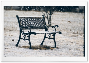 Snow Covered Bench HD Wide Wallpaper for Widescreen