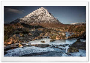 Snow covered Buachaille Etive Mor Mountain, The Great Herdsman of Etive, Glencoe, Scotland Ultra HD Wallpaper for 4K UHD Widescreen desktop, tablet & smartphone