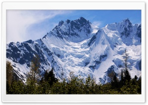 Snow Covered Mountain HD Wide Wallpaper for Widescreen