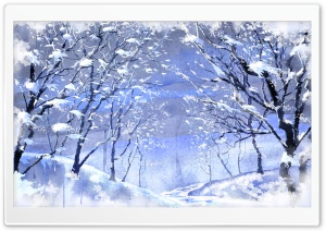 Snow Covered Trees Painting HD Wide Wallpaper for Widescreen