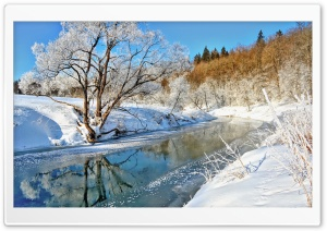 Snow Landscape Winter River HD Wide Wallpaper for Widescreen