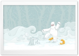 Snow Play Vector Art HD Wide Wallpaper for Widescreen