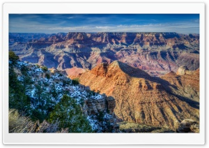 Snow, South Rim, Grand Canyon, Arizona HD Wide Wallpaper for 4K UHD Widescreen desktop & smartphone
