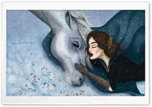 Snow White and her Horse Illustration HD Wide Wallpaper for 4K UHD Widescreen desktop & smartphone