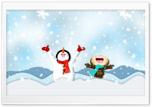 Snowing Illustration HD Wide Wallpaper for Widescreen