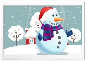 Snowman, Winter Illustration Ultra HD Wallpaper for 4K UHD Widescreen desktop, tablet & smartphone