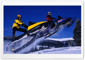 Snowmobile Jump HD Wide Wallpaper for Widescreen