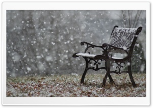 Snowy Bench HD Wide Wallpaper for Widescreen