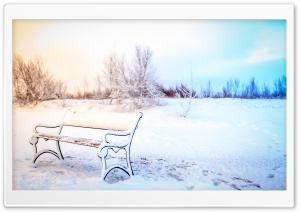 Snowy Bench, Winter HD Wide Wallpaper for 4K UHD Widescreen desktop & smartphone
